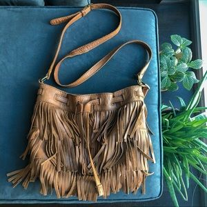 🦋 Lucky Brand 100% Leather Tassel Boho Fringe Bag